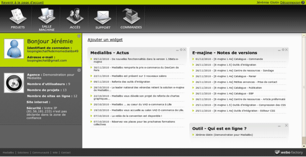 On arrive sur la page d'accueil du webo-factory